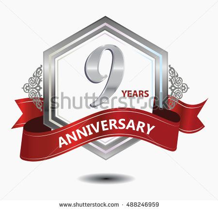 9 years anniversary hexagonal style logo with silver combination red ribbon. anniversary logo for celebration, birthday, wedding, party. anniversary logo 9th
