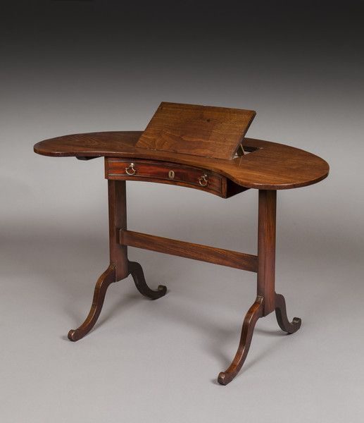 OnlineGalleries.com - Antique Georgian Chippendale Period Kidney Shaped Writing Table / Desk