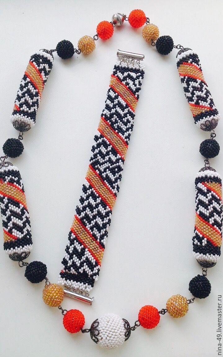 """Купить Комплект """"Мексиканские мотивы"""" ожерелье и браслет. - бисер, ожерелье, браслет, красный, черный, белый"""