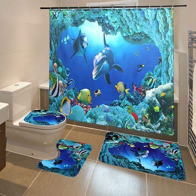 Dolphin Shower Curtain Ocean Tropical Fish Coral Underwater Bath Mat Rug Decor