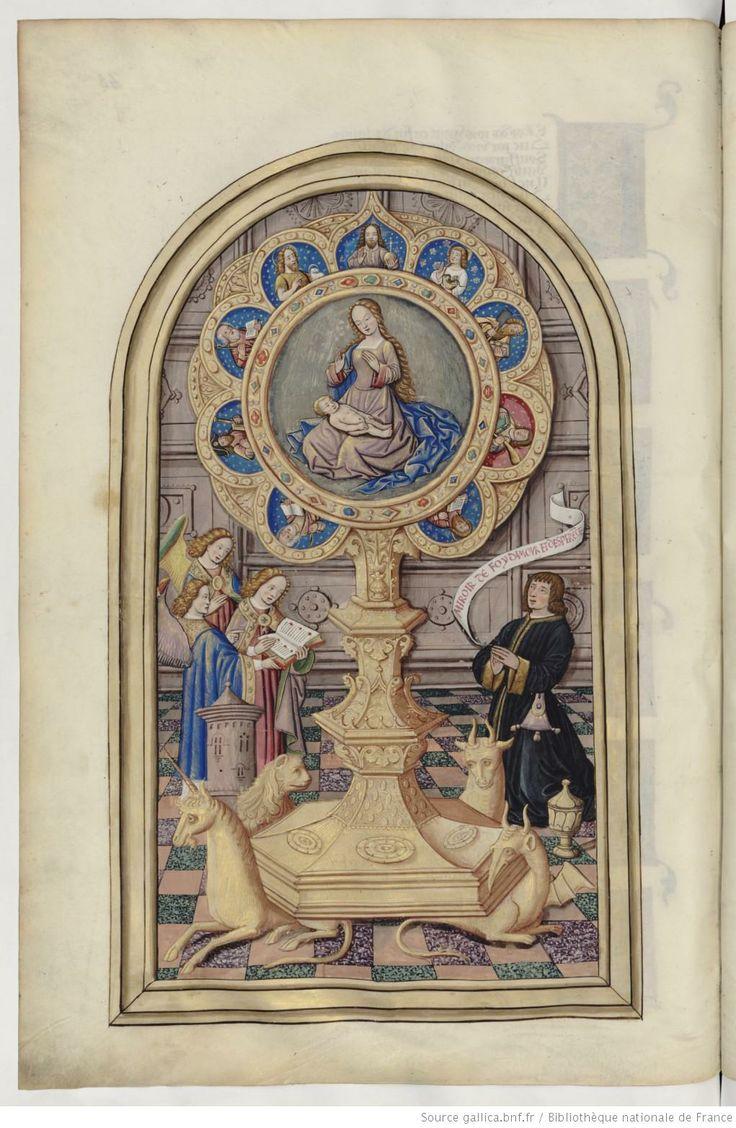 Chants royaux en l'honneur de la Vierge au Puy d'Amiens Date d'édition : 1501-1600 Type : manuscrit Langue : Français Format : Vélin, miniatures, lettres ornées Droits : domaine public Identifiant : ark:/12148/btv1b8426257z
