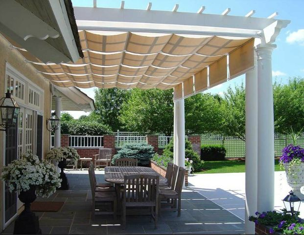 Pergola with retractable awning renovation inspiration pinterest decks fabrics and light - Waterdichte pergola cover ...