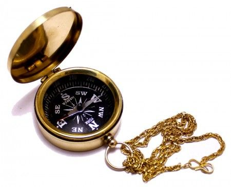 Buy Solid Brass Nautical Directional Pocket Compass with Chain 1.75 Online - Navigational Compass
