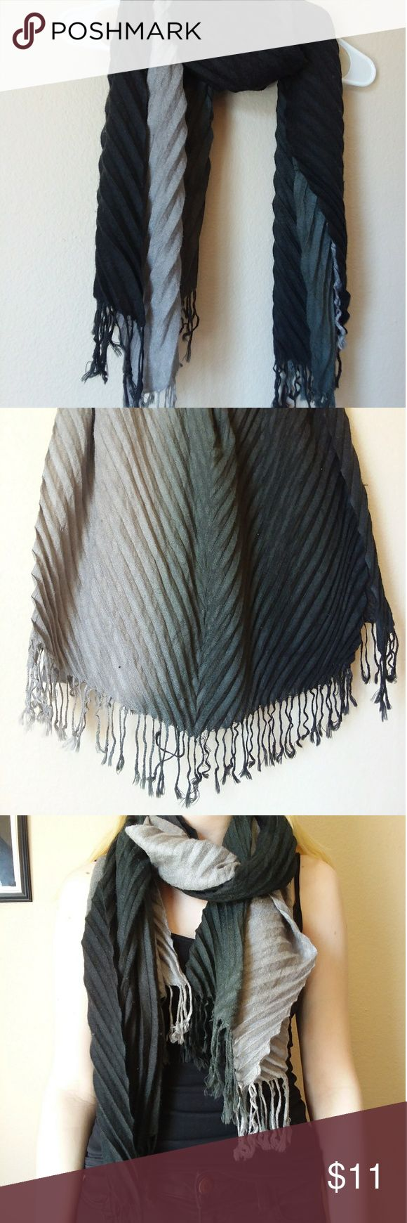 Scarf Creased hombre fabric black to light grey. Warm with tassles. Like new!! Accessories Scarves & Wraps