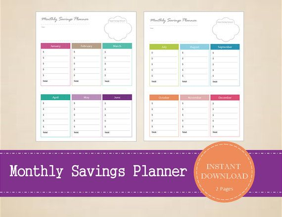 Monthly Savings Planner  Savings List  Yearly by MBucherConsulting