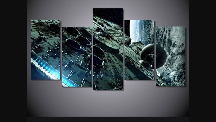 #fashion #collectibles Framed Star Wars Millennium Falcon Wall Poster Canvas: Painting is a 5 piece set, with wooden frames… #memorabilia