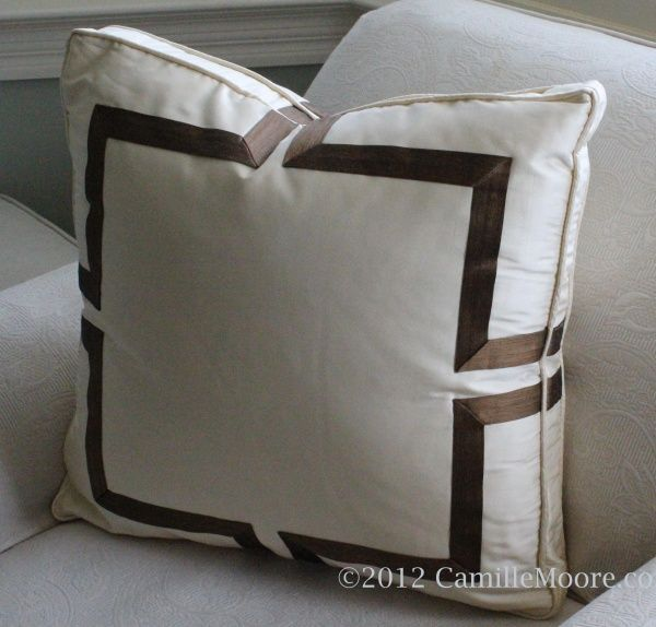 Boxed Pillow with Celtic Banding, Design by Camille Moore, Fabrication by Camille Moore Window Treatments