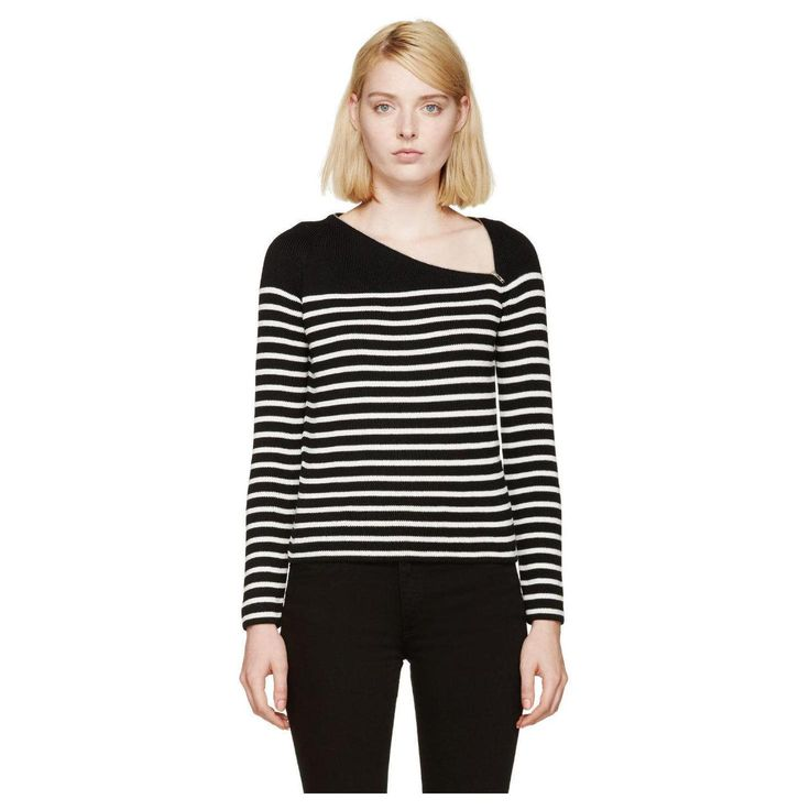 Saint-Laurent-Women-s-Black-White-Striped-Sweater-