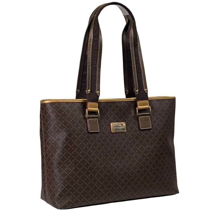 Big size shoulder bag with logo and gold features