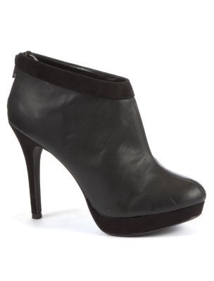 Black Contrast Topline Shoe Boot Heels