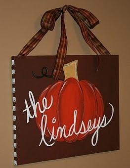 Fall pumpkin canvas...paint canvas for holiday decor!