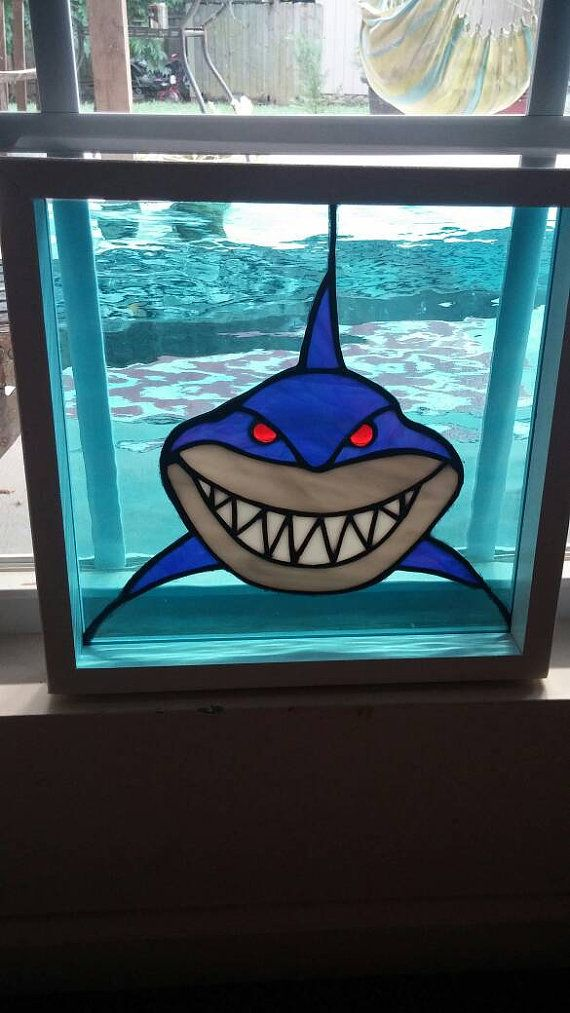Shark Stained glass suncatcher, Stained glass panel, bruce the shark