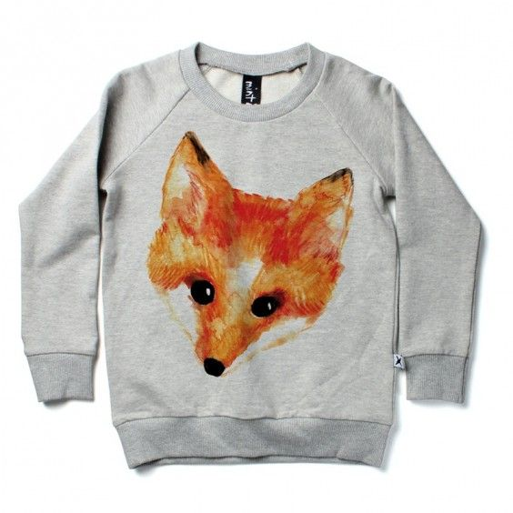 Minti Painted Fox Crew - Grey Marle