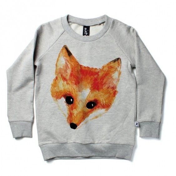 Minti Painted Fox Crew - Grey Marle