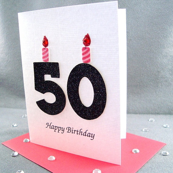 50th Birthday Card  Milestone Birthday  Greeting by ZeeBestCards: Handmade 50Th Birthday Cards, Cards Ideas, Crafts Cards, Age Cards, Cards Ideal, Cards Birthday, Cards Sayings, Cards Milestones, Cards Crafts