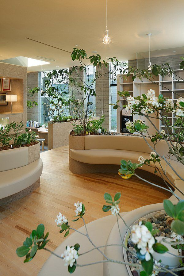 Chairs are modified to have space for growing plants. It's like an office in the middle of a garden.