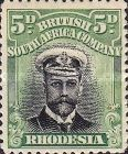 British South Africa Company, 1.9.1913, King George V., No.131, 5P green/black. Stamped 10,98 USD. Unused 5,49 USD.