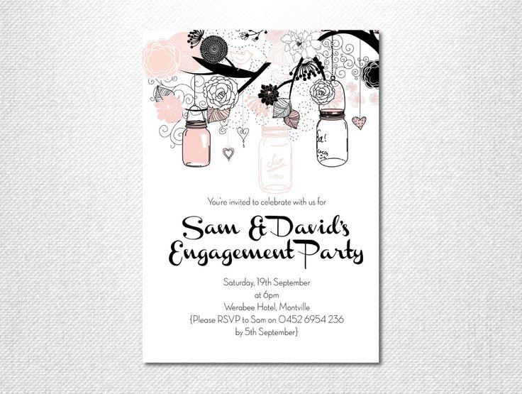 Pink and Black, Mason Jar, Mason Jar Invitation, Garden Party, Engagement Party, Engagement Invite, Garden Wedding, Vintage Invitation