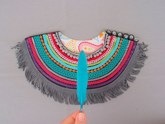 Ethnic Jewelry with grey leather fringe  Ethnic by baboshkaa
