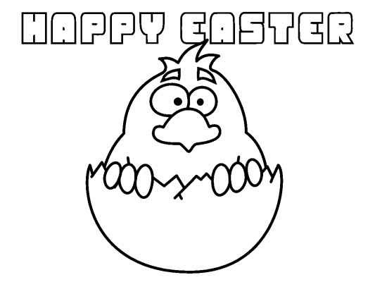 A Cute Chick Happy Easter Coloring Page Color In Online And Then Print