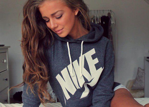 """Women """"NIKE"""" Hooded Top Sweater Pullover Sweatshirt Hoodie"""