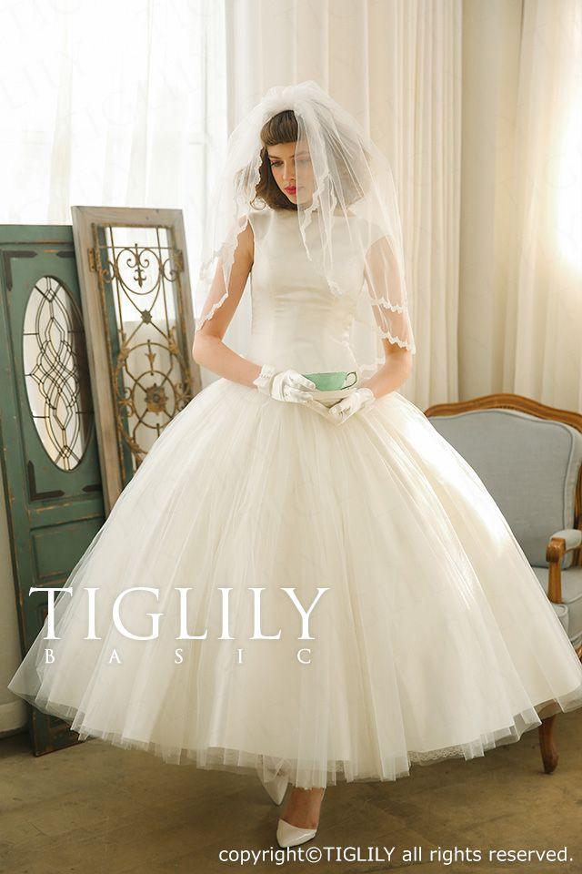 ウェディングドレス_ウエディングドレス_ホワイトドレス_Aライン_ミモレ_TIGLILYBASIC(wb002)