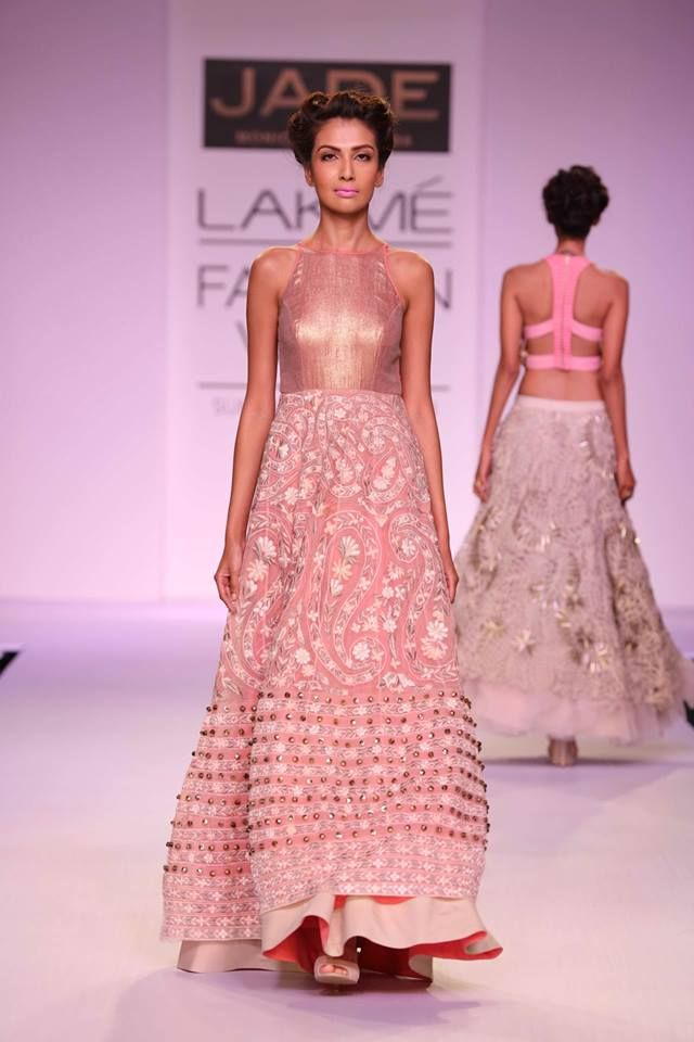 JADE by Monica and Karisma at Lakme Fashion Week Summer Resort 2014 pink dress gown with border. More here: http://www.indianweddingsite.com/jade-monica-karishma-lakme-fashion-week-summer-resort-2014/