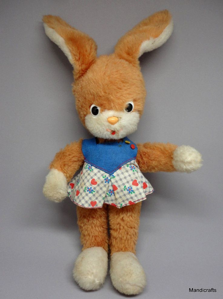 Schuco Easter #Rabbit Dralon Plush Bendy Doll 25cm 10in Dress Bigo Bello 1970s #Schuco #Easter