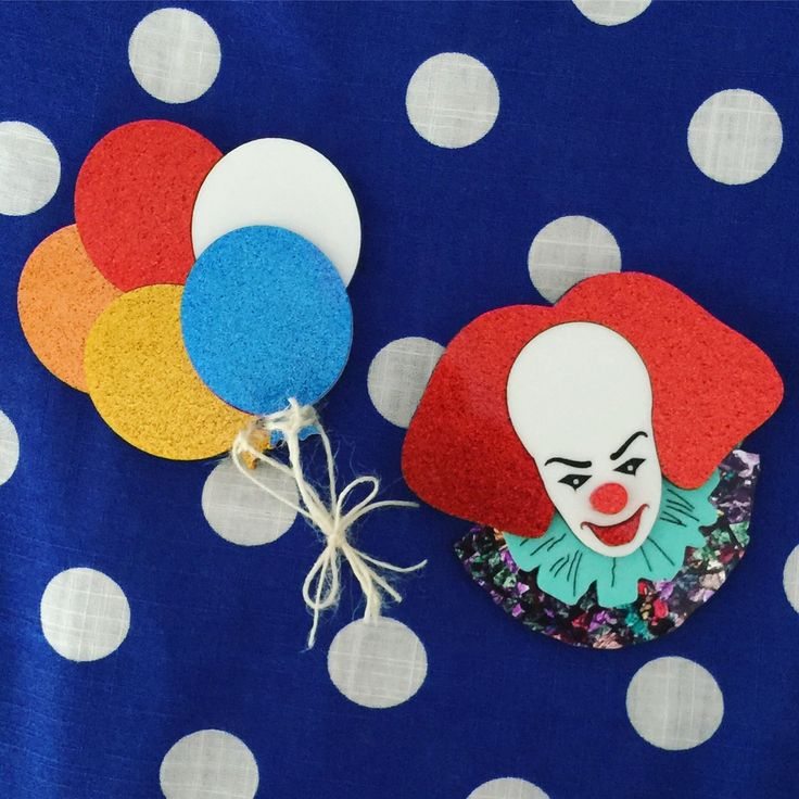 Image of PREORDER Clown & Bunch Of Balloons Brooch (SET OR INDIVIDUAL)