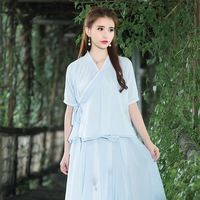 민족 블라우스 2016 여성 여름 보헤미안 디자인 o 목 짧은 소매 블루 그레이 중백의 블라우스 셔츠 중국어 중국어 의류