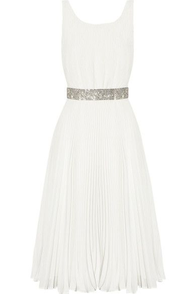 Off-white double-layered semi-sheer plissé-georgette Crystal-embellished snap-fastening waist belt, fully lined Exposed zip fastening at back 100% polyester Dry clean