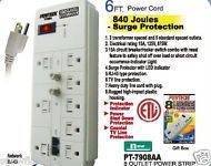 8 OUTLET SURGE PROTECTOR / POWER STRIP RJ-45 PROTACTION  - 6ft CORD / 840 JOULES