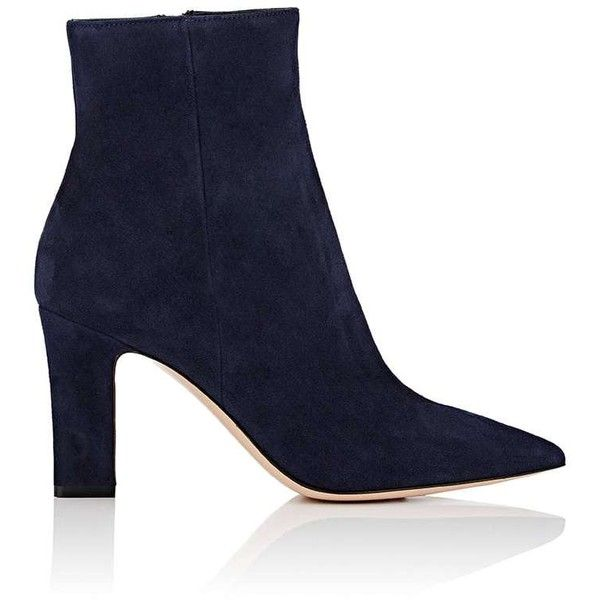 Gianvito Rossi Women's Pointed-Toe Suede Ankle Boots (27 995 UAH) ❤ liked on Polyvore featuring shoes, boots, ankle booties, ankle boots, navy, navy blue suede booties, suede booties, navy suede boots, high heel ankle boots and navy blue booties