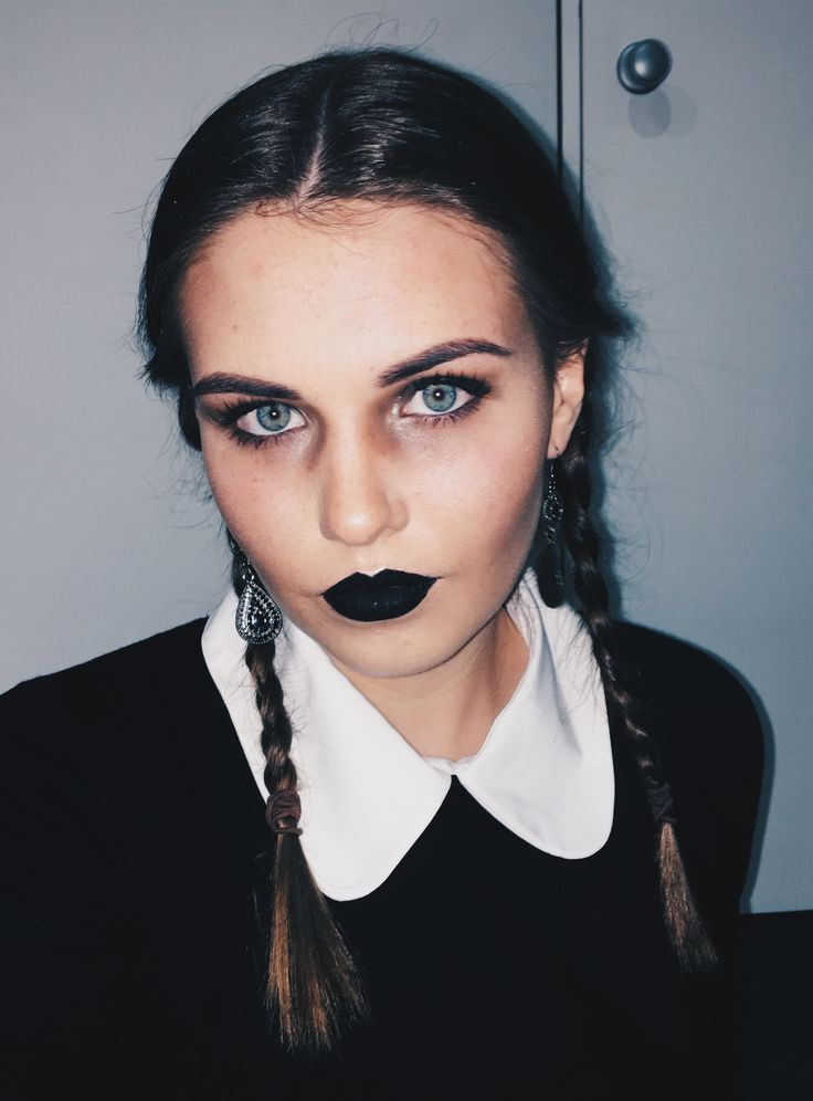 Wednesday Addams - Halloween makeup/costumes.  Addams family Makeup