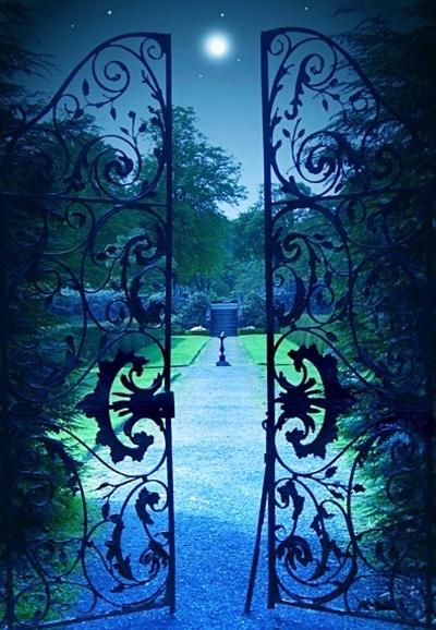 Lovely Moonlight Garden Gate, Provence, France.