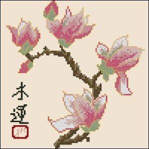 "Cross-stitch design ""Magnolia""   Cross-Stitch Club"