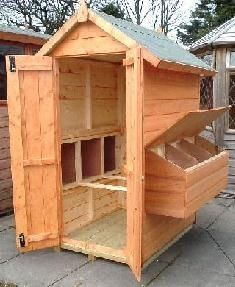 Chicken Coop. I like the small footprint yet full human-size door for easy cleaning