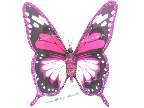 Bright Pink Butterflies from Sunlight Butterflies Hand Made in Queensland Australia