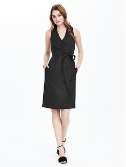 Black Sleeveless Wrap Dress | Banana Republic