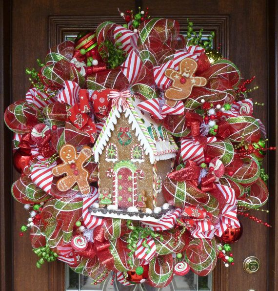 "32"" Deco Mesh WHIMSICAL GINGERBREAD HOUSE Christmas Wreath"