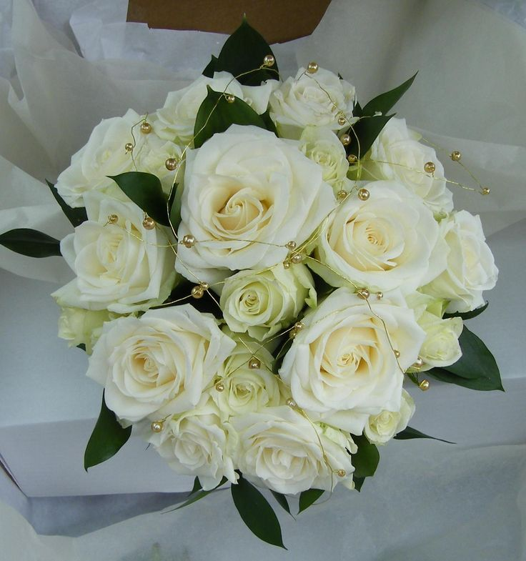 White Roses with Golden wired pearls
