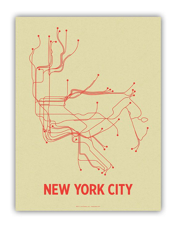 NYC Lineposter Screen Print  Cement Green/Orange by lineposters, $28.00