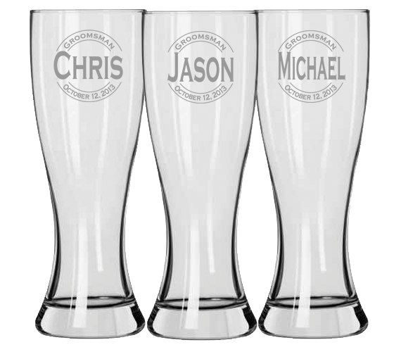 Groomsmen Gift, Engraved Beer Glasses, Personalized Pilsner Beer Glass, Wedding Favor, Groomsman Gifts, Etched Glasses