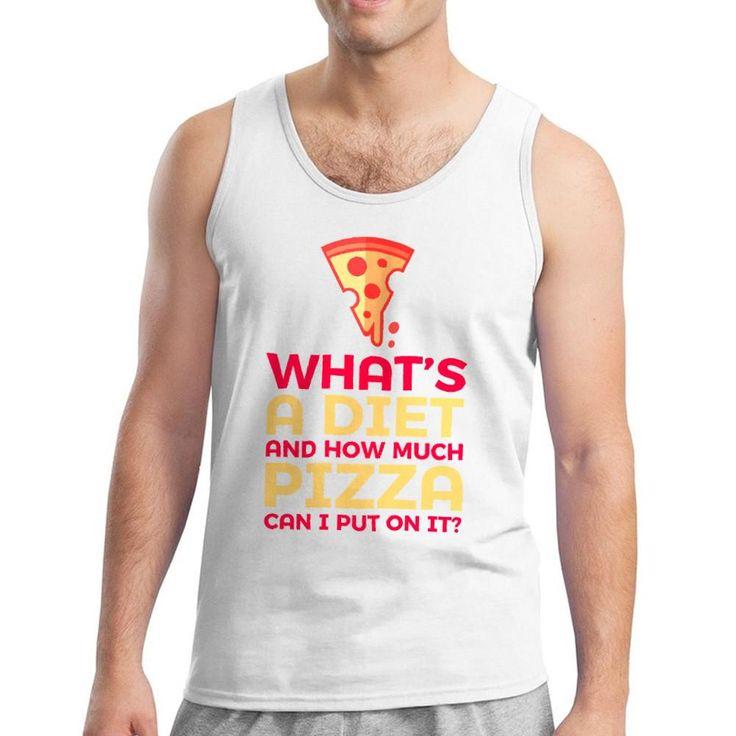 Tee Bangers Pizza VS Diet & Pizza Icon Men's White Tank Top. White crew neck Sleeveless Tank Top Pizza VS Diet & Pizza Icon graphic quote