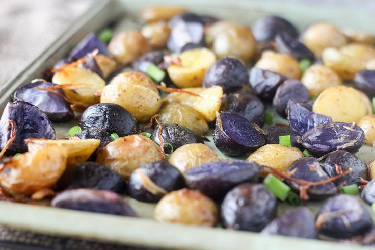 This purple potato recipe uses a special technique to perfectly roast any color of baby potatoes, including these purple potatoes. Crispy fried shallots add crunch and texture.