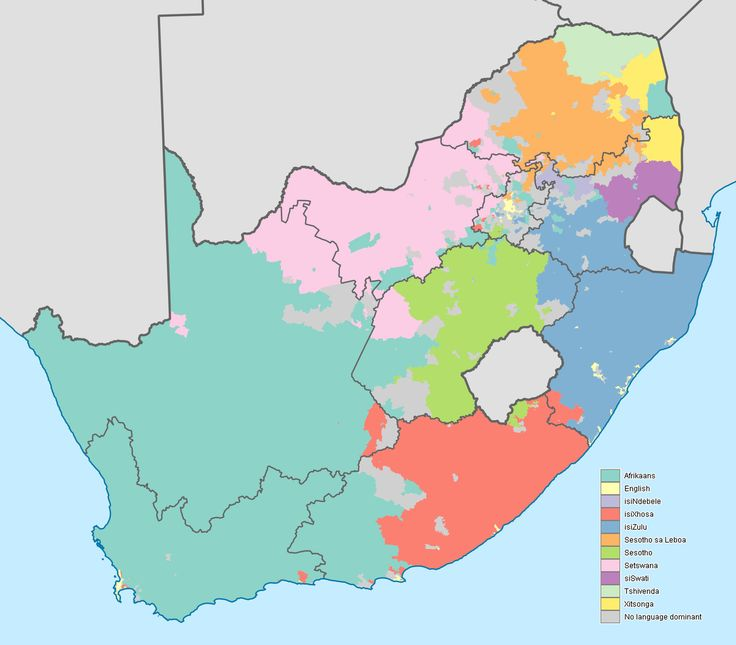 Map showing the dominant home languages in South Africa, based on ward-level data from the 2011 census. In this context, a language is dominant if more than 50% of the population in a ward speak it at home, or more than 33% speak it and no other language is spoken by more than 25%