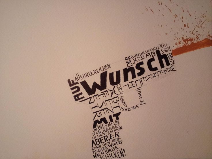 Waffengesetz_Zitat: Georg Schramm_Kalligrafie  #design #kunst #art #gouache #kalligrafie #kabarett #zitat #georgschramm #schramm #waffengesetz #waffenkontrolle #merkel #fürsstudium #selonke #doubledashdesign #kunstschulewandsbek