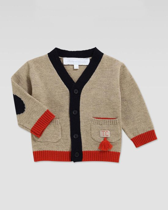 Sweaters For Baby Boys | Tartine et Chocolat's cashmere-blend, colorblock cardigan has navy elbow patches and a cute red tassel on the pocket.