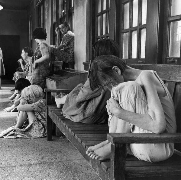 "OHIO INSANE ASYLUM IN 1946…….SO OFTEN WE MIGHT ASK OURSELVES:  ""WHAT ARE THEY THINKING (??)""……BUT IN REALITY, I GUESS THEY DON'T THINK……THEY ARE PUT HERE IN THE MORNING AND DON'T MOVE ALL DAY…………ccp"