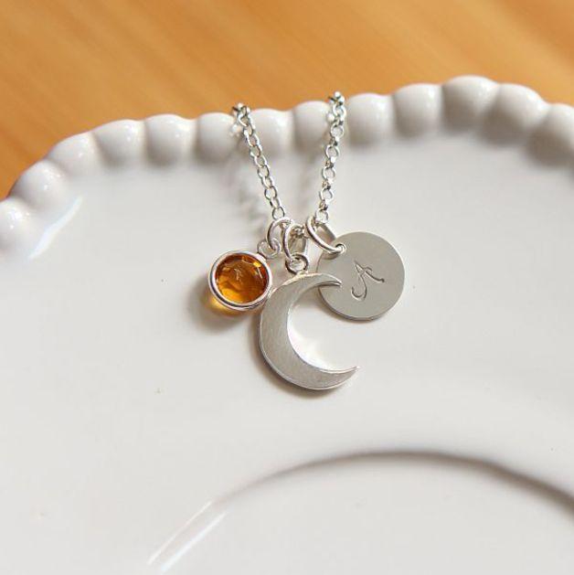 Personalny, srebrny naszyjnik-półksiężyc,inicjał - pikbijou - Biżuteria srebrna